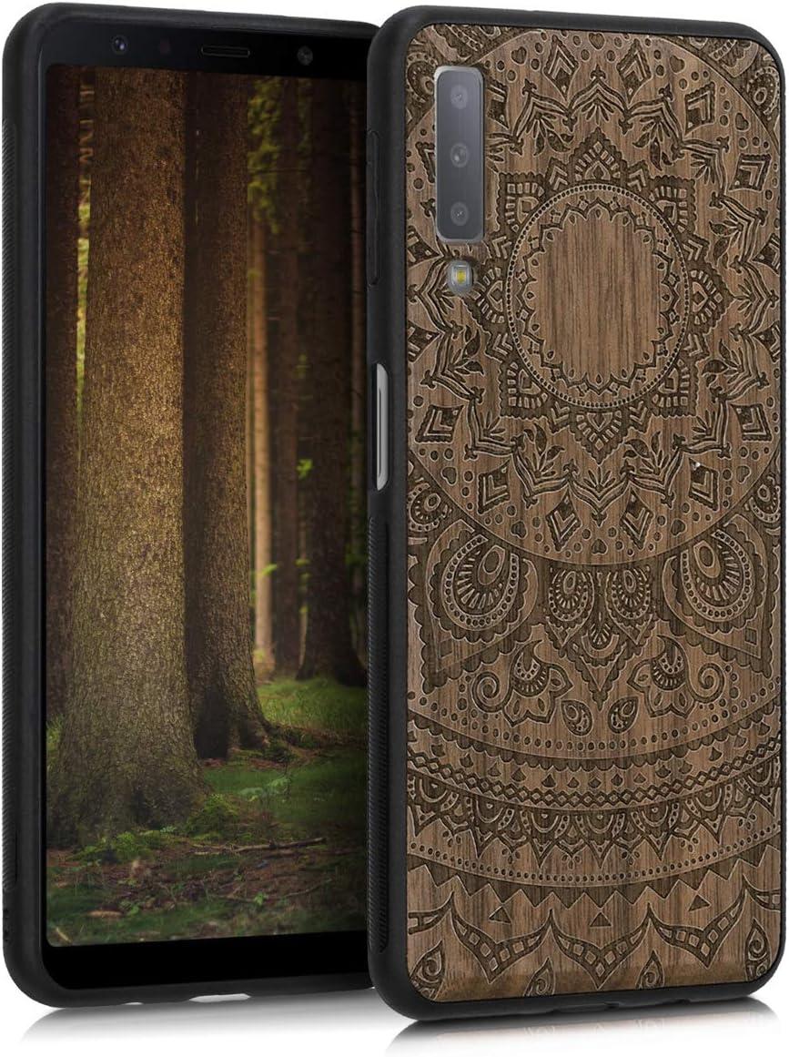 kwmobile 1x Funda de Madera Madera de Nogal Compatible con Samsung Galaxy A7 (2018) Carcasa Sol hindú