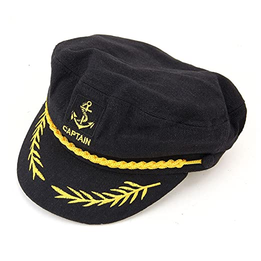 b1bc79d8baae1 Amazon.com  Perfect Order Adult Captains Hat Yacht Cap Standard (Black)   Clothing