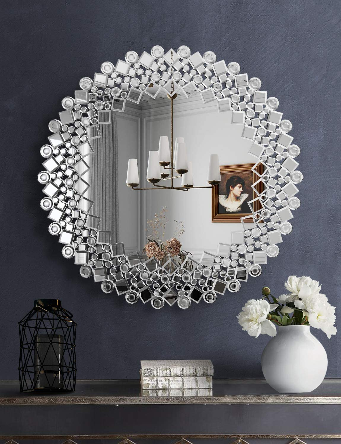 Mirrored Round Decor Mirror - 31.3'' x31.5'' Glass Framed Decor Wall Mirror for Decor Fireplace Bedroom Livingroom