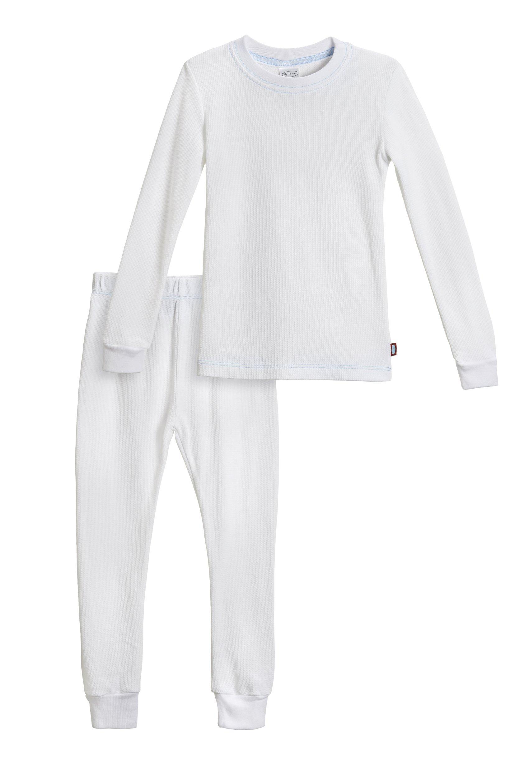 City Threads Little Boys Thermal Underwear Set Perfect for Sensitive Skin SPD Sensory Friendly, White- 4T