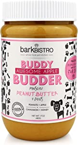 Bark Bistro Company, Awesome Apple, 100% Natural Dog Peanut Butter, Healthy Peanut Butter Dog Treats, Stuff in Toy, Pill Pocket for Dogs, Made in USA, (17oz Jars)
