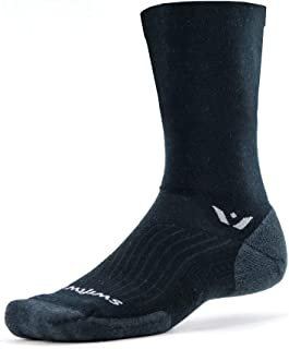 product image for Swiftwick- PURSUIT SEVEN Hiking & Cycling Crew Socks, Durable, Merino Wool (Black/Coal, Small)