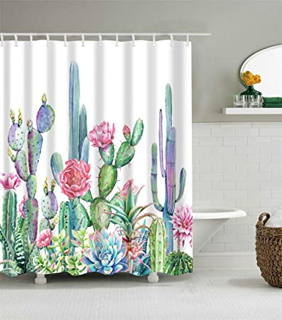 Green Cactus Plants Design Waterproof Fabric Shower Curtain Set Bathroom Decor