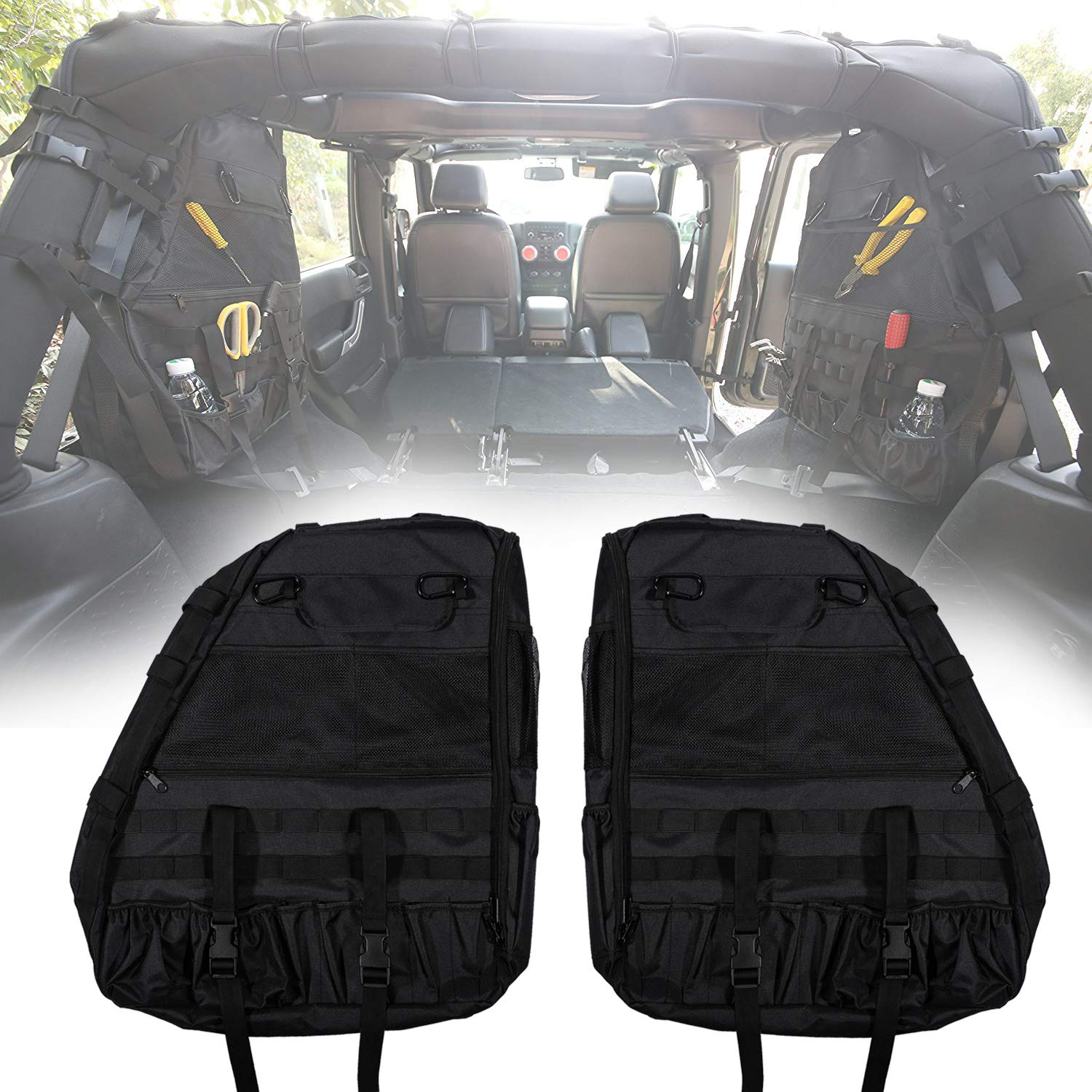 Roll Bar Storage Bag Cage with Multi-Pockets & Organizers & Cargo Bag Tool Kits for Jeep Wrangler JK JL TJ LJ & Unlimited 4-Door 1997-2018 by Danti