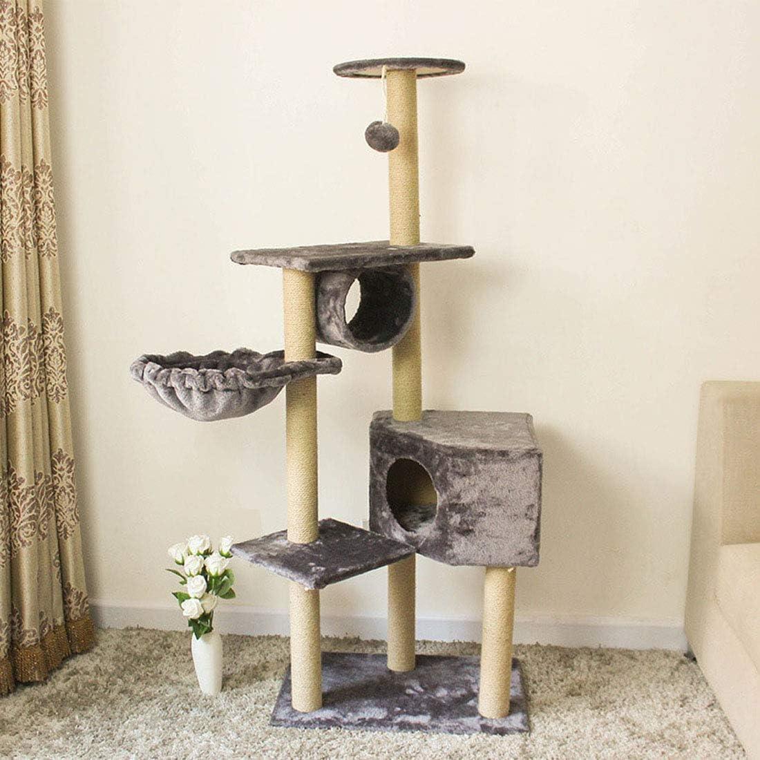 頑丈 サイザルで覆われた猫の木猫の塔ひっかかれたポスト止まり木猫のベッドプラットフォームぶら下がりぬいぐるみボールトンネル付きペット家具 おもちゃ, Grey