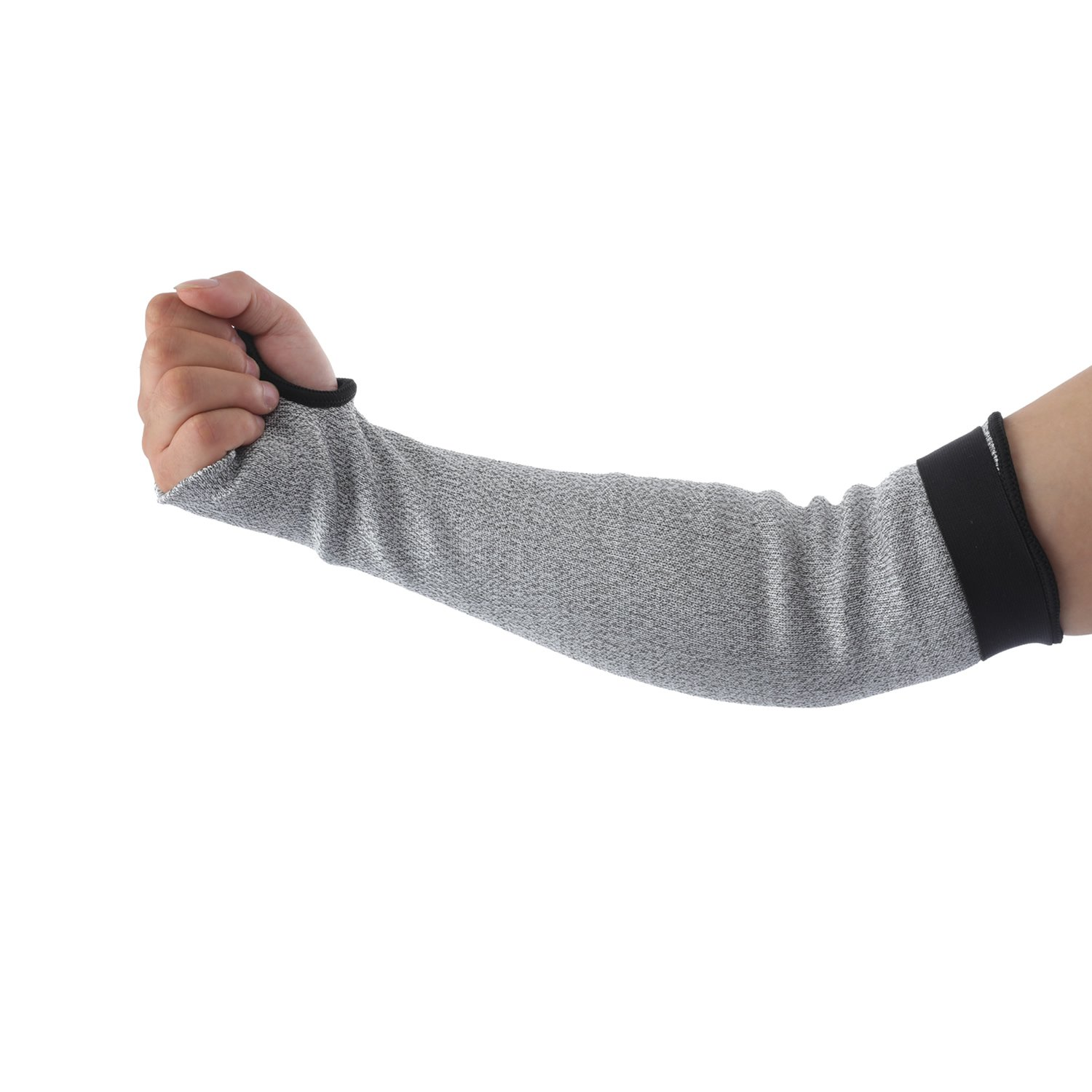 Anti Cut Resistant Arm Sleeves Double Ply - BONLEX 18Inch HPPE Extra Long & Velcro Cut Resistant Knit Sleeves,Level 5 Protection, Slash Resistant Sleeves with Thumb Slot Helps Prevent Scrapes,1 Pair