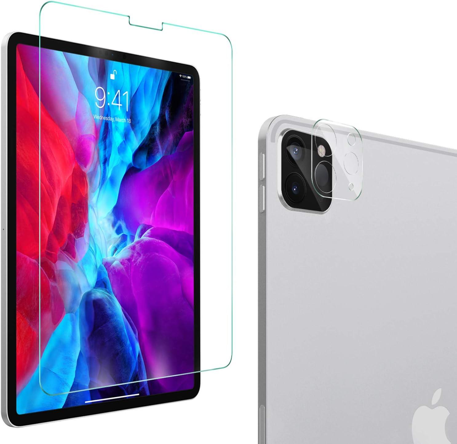 YockTec Protector de Pantalla para iPad Pro 12.9 2020, Protector de Lente de cámara, [dureza 9H] Reemplazo de película Protectora HD Clear para iPad Pro 12.9 2020 Tableta