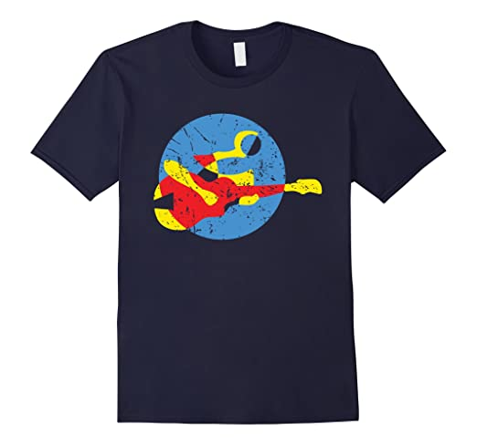 Mens Guitar Musician Abstract Style T-shirt 2XL Navy
