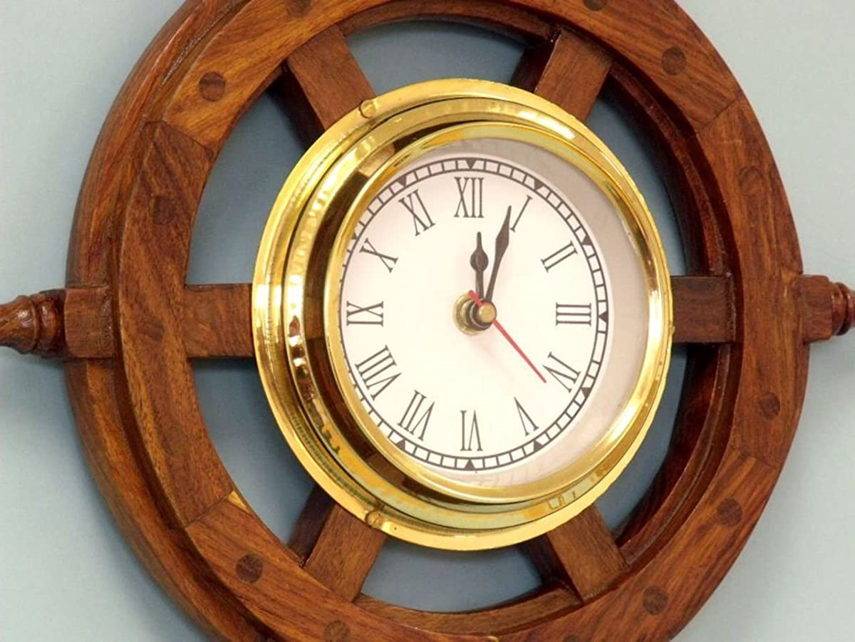 "Hampton NauticalDeluxe Class Wood and Brass Ship Wheel Clock 12"" -- Nautical Home Decorating"