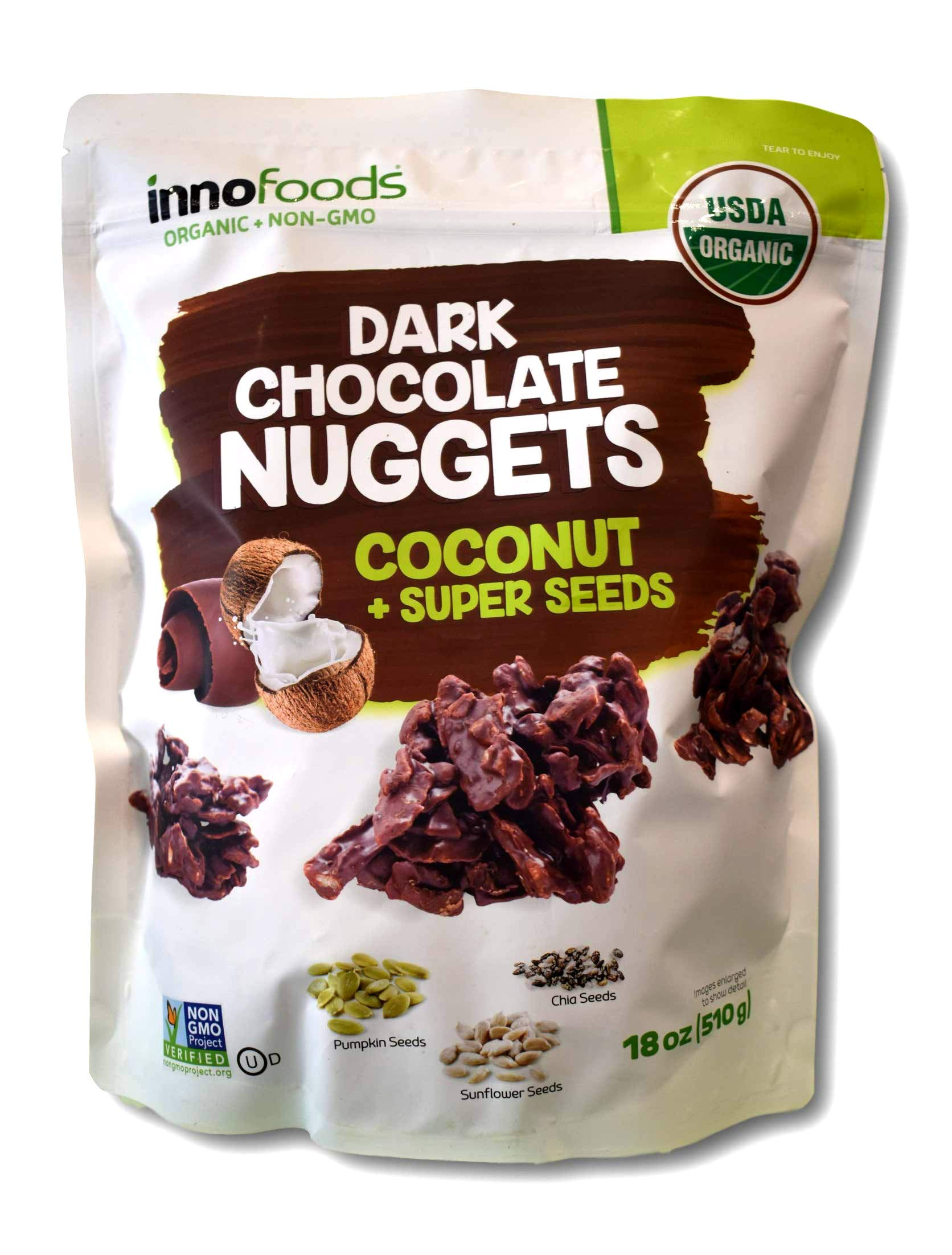 Innofoods Organic Dark Chocolate Nuggets with Coconut & Super Seeds by InnoFoods
