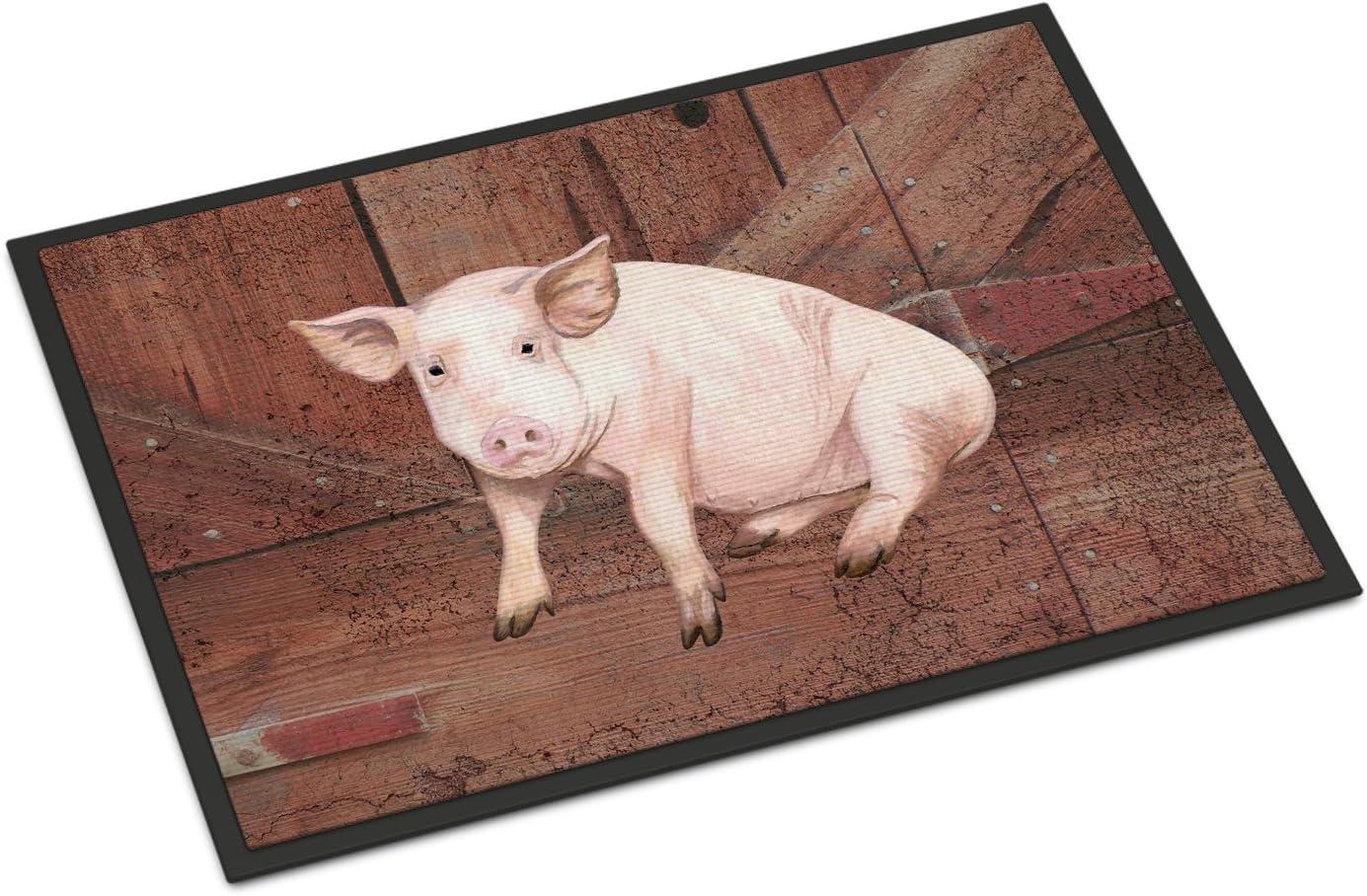 Caroline s Treasures Pig at The Barn Door Indoor or Outdoor Mat, 24 x 36 , Multicolor