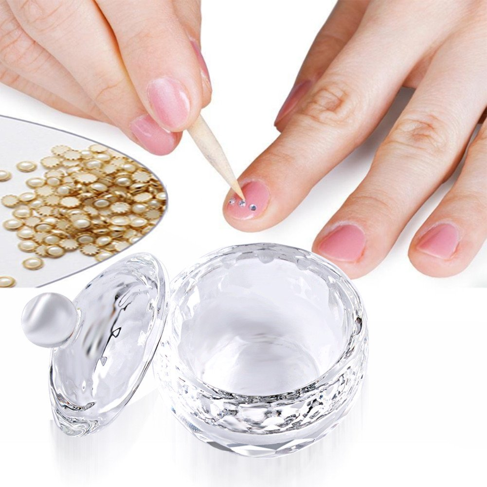 Nail Art Acrylic Crystal Glass Dappen Dish Lid Bowl Cup Liquid Powder Container Ownsig
