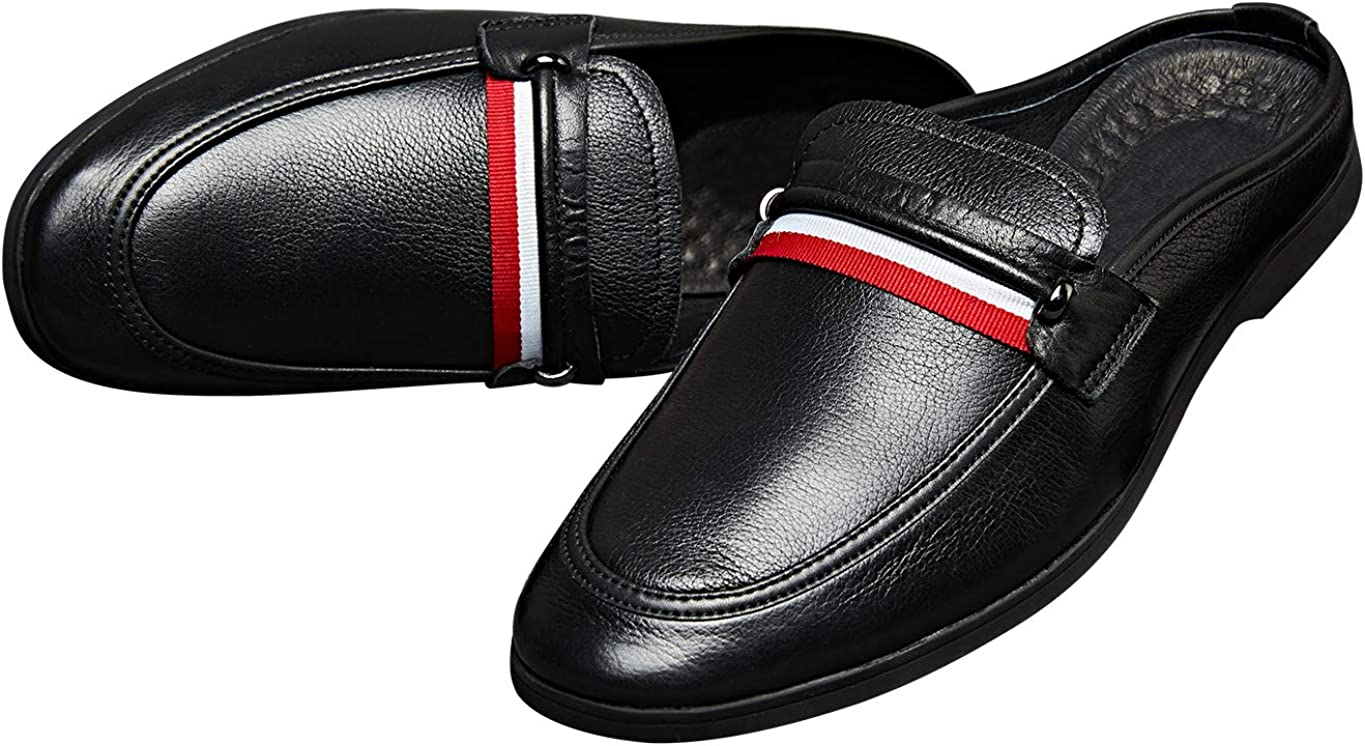 Santimon Mules Men Leather Casual Classic Penny Loafer Slippers Slip on Shoes Sandals