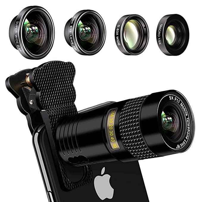 Phone camera lens, AFAITH Upgraded 5-in-1 phone lens kit-9X Zoom Telephoto  Lens, 0 4X Super Wide & 180° Fisheye Lens, 0 63X Wide and 15X Macro Lens