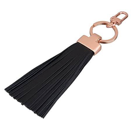 Amazon.com  Leather Tassel Keychain Fob Valet Split Key Ring Bag ... abfed05f6702