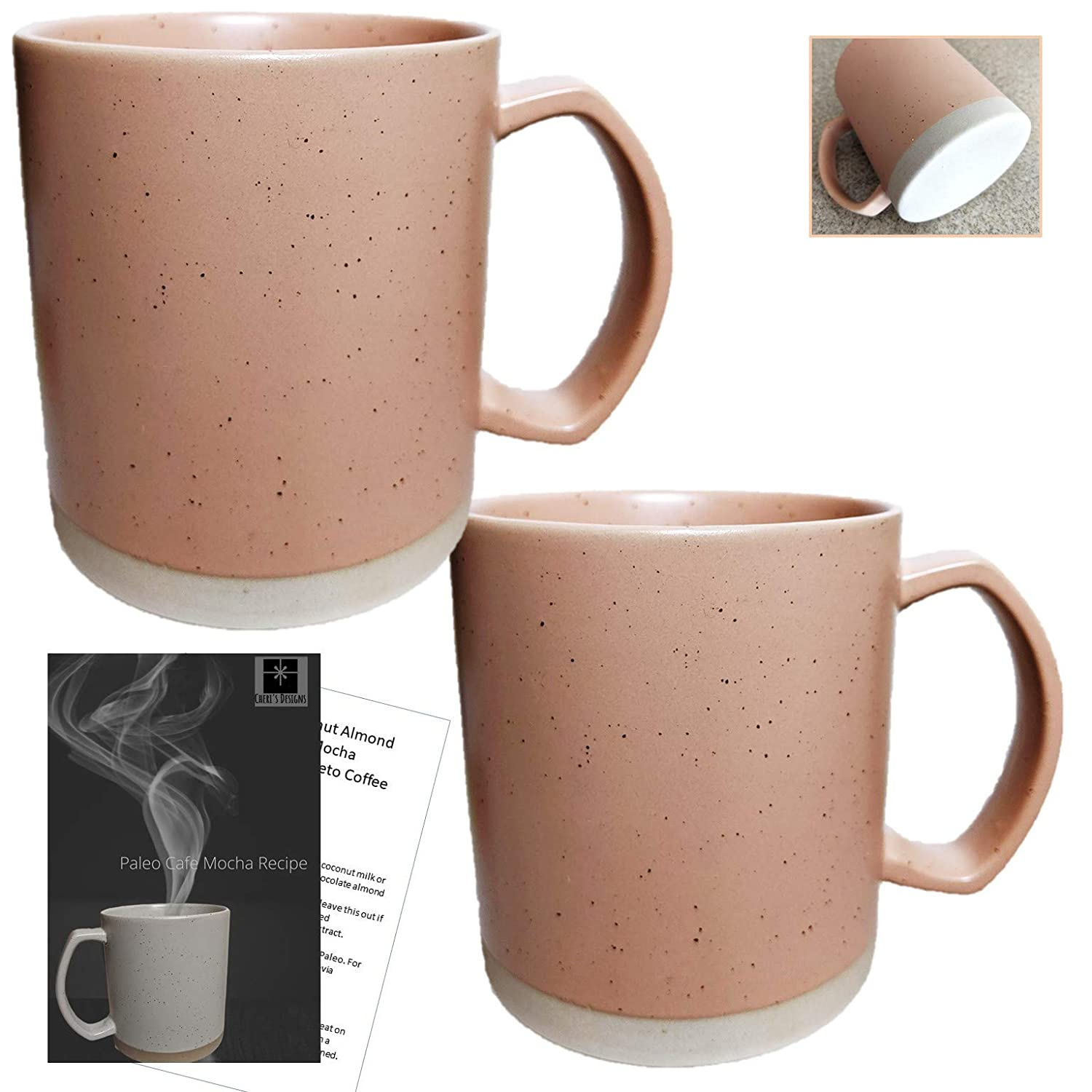 Buy Flat Bottom Coffee Mug For Warmer Set 2 Large Stoneware Coffee Cups With Completely Flat Bottoms Big Coffee Mugs Can Hold 16 Ounces Paleo Cafe Mocha Recipe Online