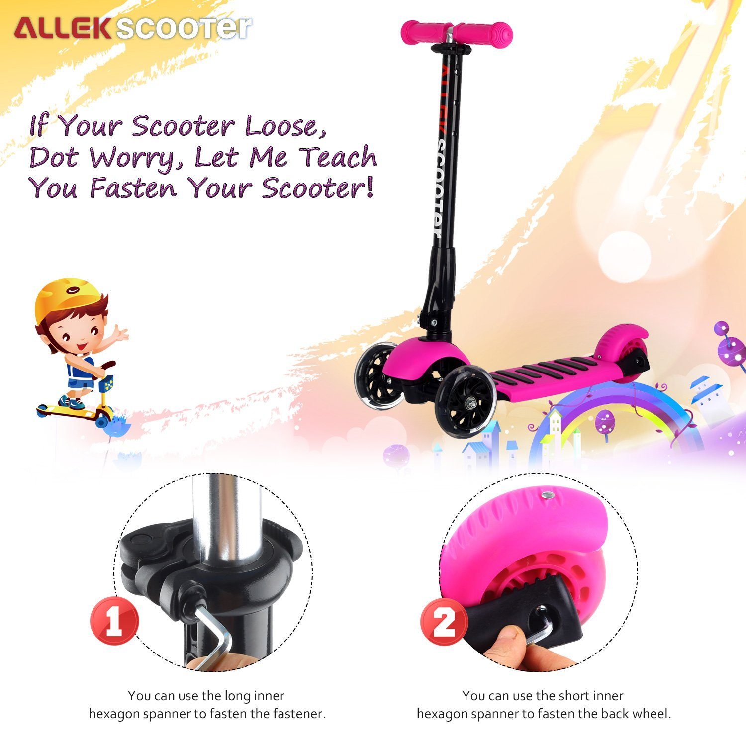 Allek Scooters for Kids, Wide Deck 3 Wheels Scooter for 3 Years and Up with T-Bar Handle 150lb Weight Limit Kick Scooter by Allek (Image #8)