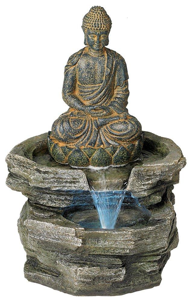 Sitting Buddha 21'' High LED Water Fountain