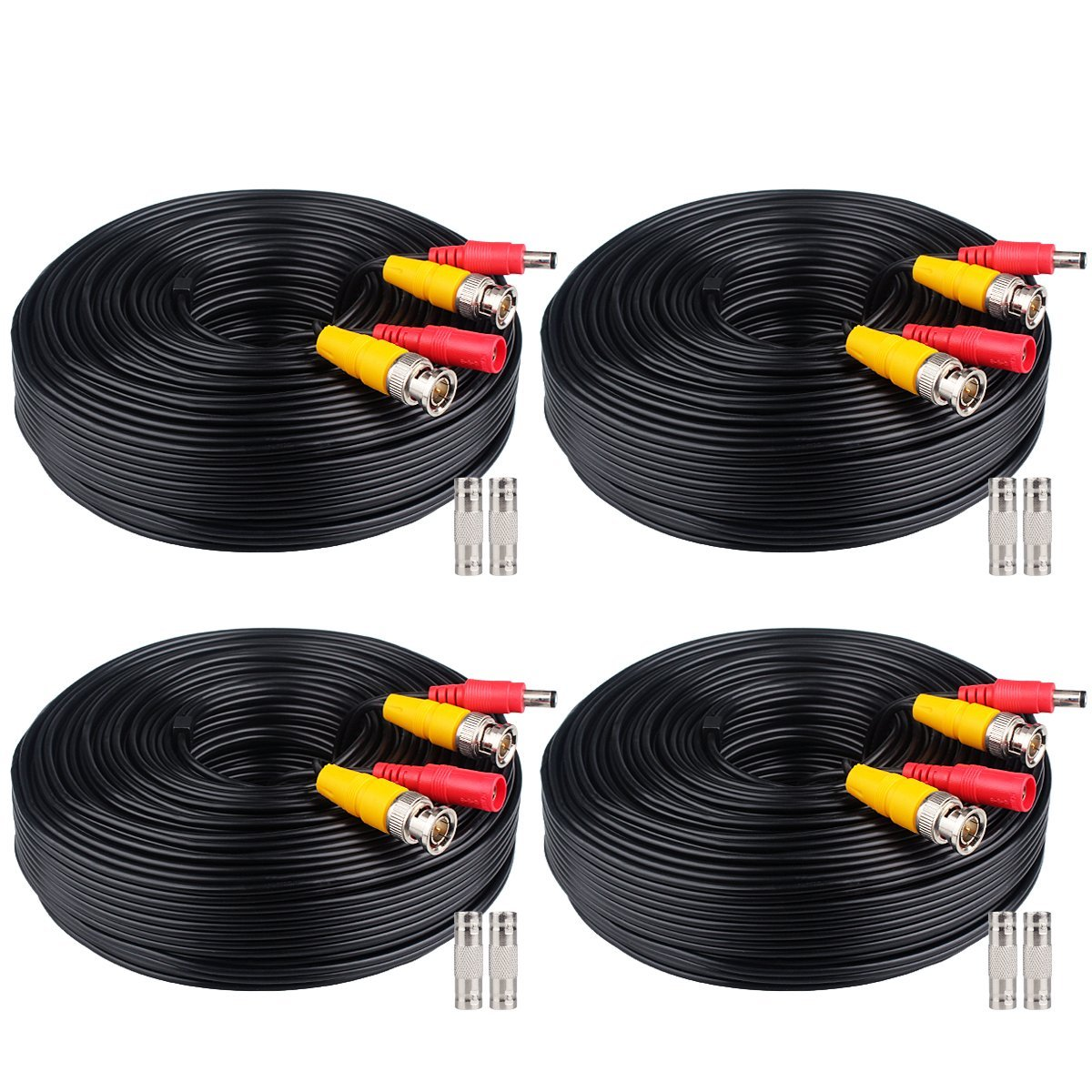 WildHD 4x200ft BNC Cable All-in-One Siamese Video and Power Security Camera Cable Extension Wire Cord with 2 Female Connetors for All Max 5MP HD CCTV DVR Surveillance System (200ft 4pack Cable, Black) by WildHD