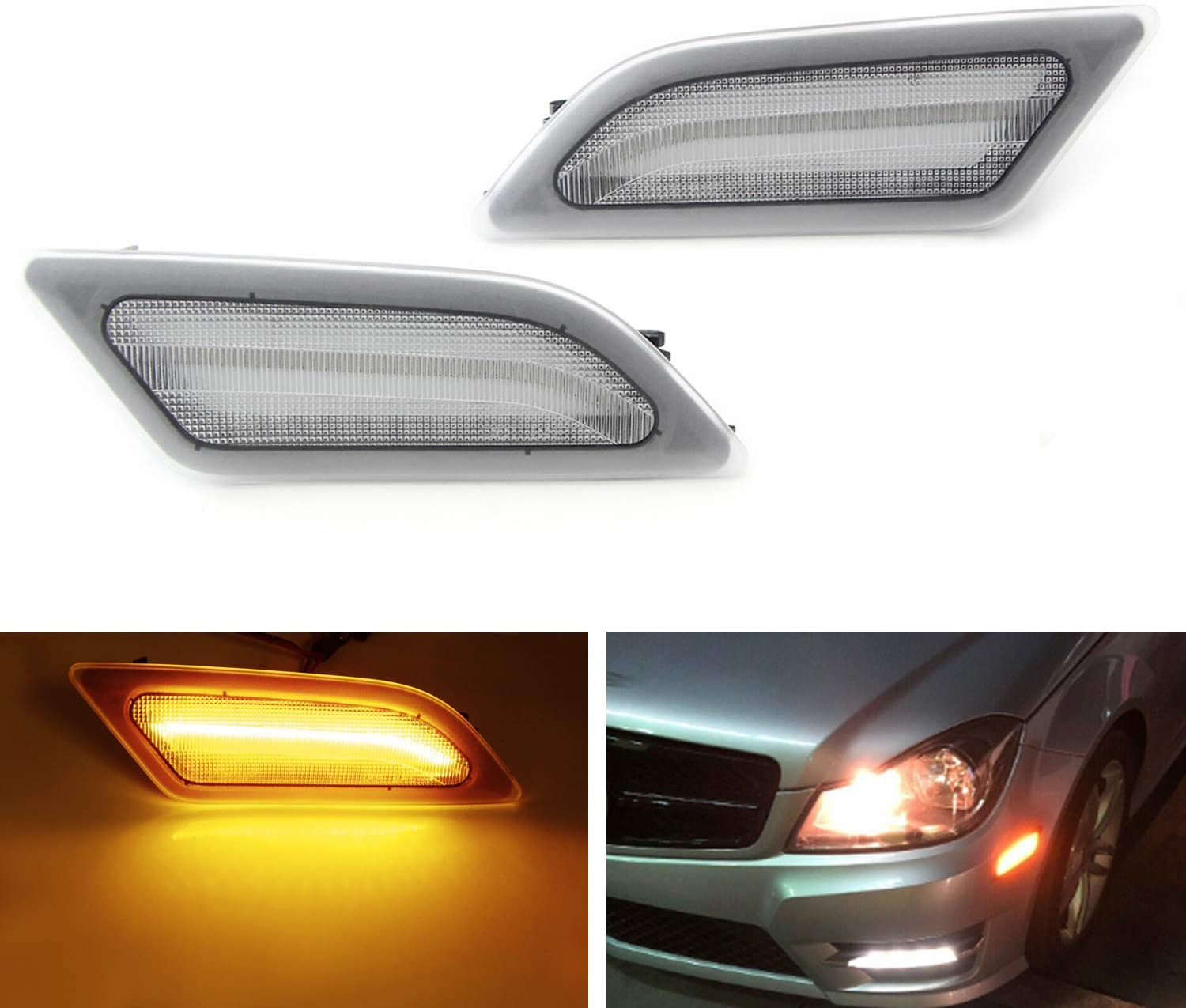 Replace OEM Sidemarker Lamps iJDMTOY Smoked Lens Amber Full LED Front Side Marker Light Kit For 2008-11 Mercedes W204 C250 C300 C350 /& 2008-2013 C63 AMG Powered by SMD LED