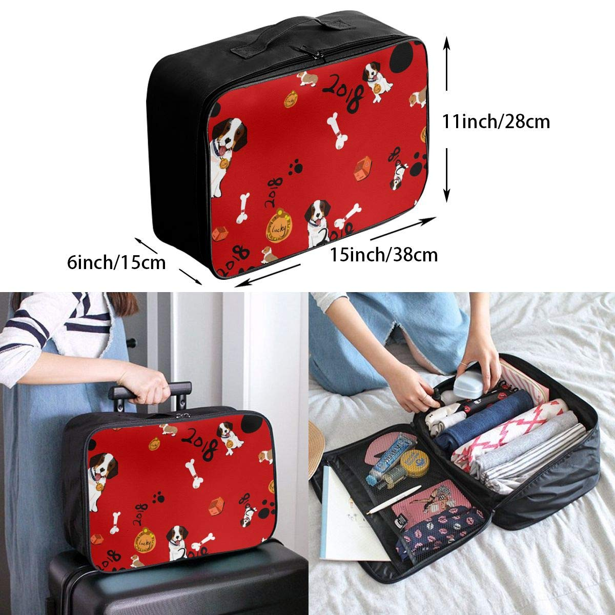 Travel Luggage Duffle Bag Lightweight Portable Handbag Dog Print Large Capacity Waterproof Foldable Storage Tote