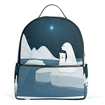 b4a8b39aed4 Amazon.com | Polar Bears In North Pole Backpack School Travel Bag Daypack  for Women Girls Boys | Kids' Backpacks