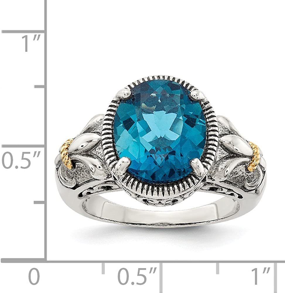 Mia Diamonds 925 Sterling Silver and 14k Yellow Gold London Blue Topaz Ring