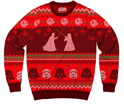 star wars death star saber showdown red ugly christmas sweater adult small - Red Ugly Christmas Sweater