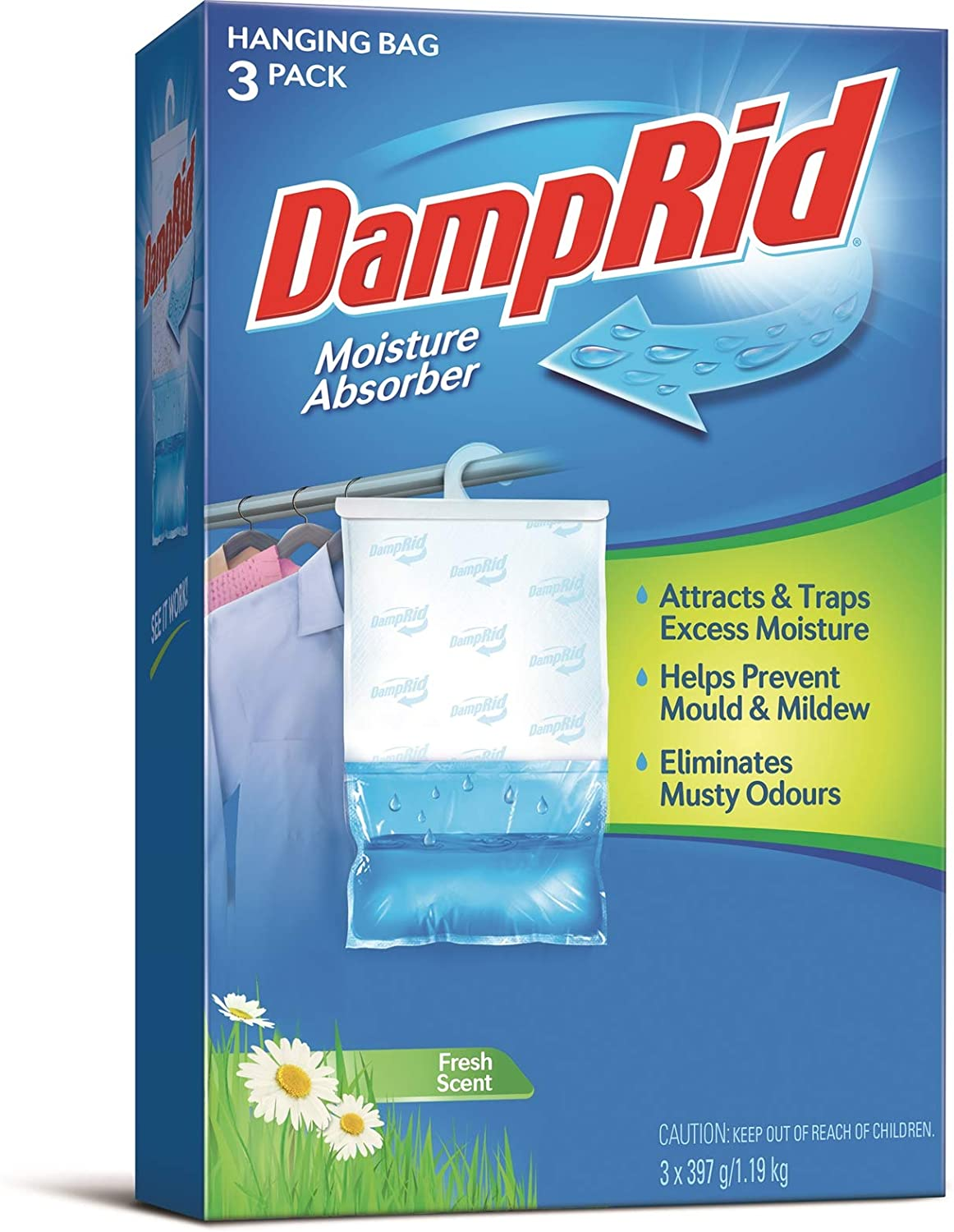 Damp Rid Hanging Closet Fresheners, 3 Count Package (Pack of 3)
