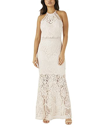 9ceada0d690108 LIPSY Womens VIP All Over Lace Halter Maxi Dress - Beige -  Amazon.co.uk   Clothing