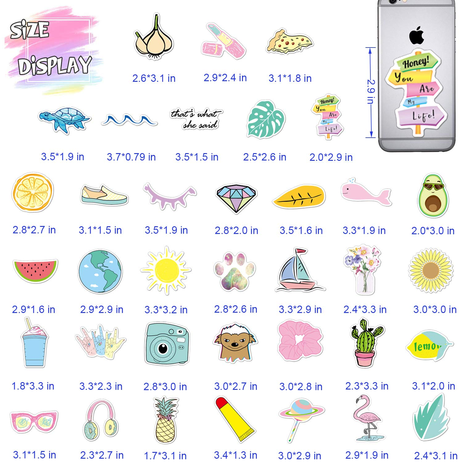 Cute VSCO Stickers for Water Bottle Laptop (36 - Pack Vinyl Stickers) Aesthetic Trendy Waterproof Stickers for Hydro Flask, Suitable for Girls, Kids, Teens, Adults