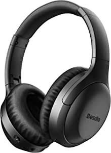 Active Noise Cancelling Headphones, Wireless Headphones Bluetooth Headphones with Mic, BesDio Over Ear Headphones with Quick Charge, Bluetooth 5.0 Deep Bass, 30H Playtime for Online Class Home Work PC