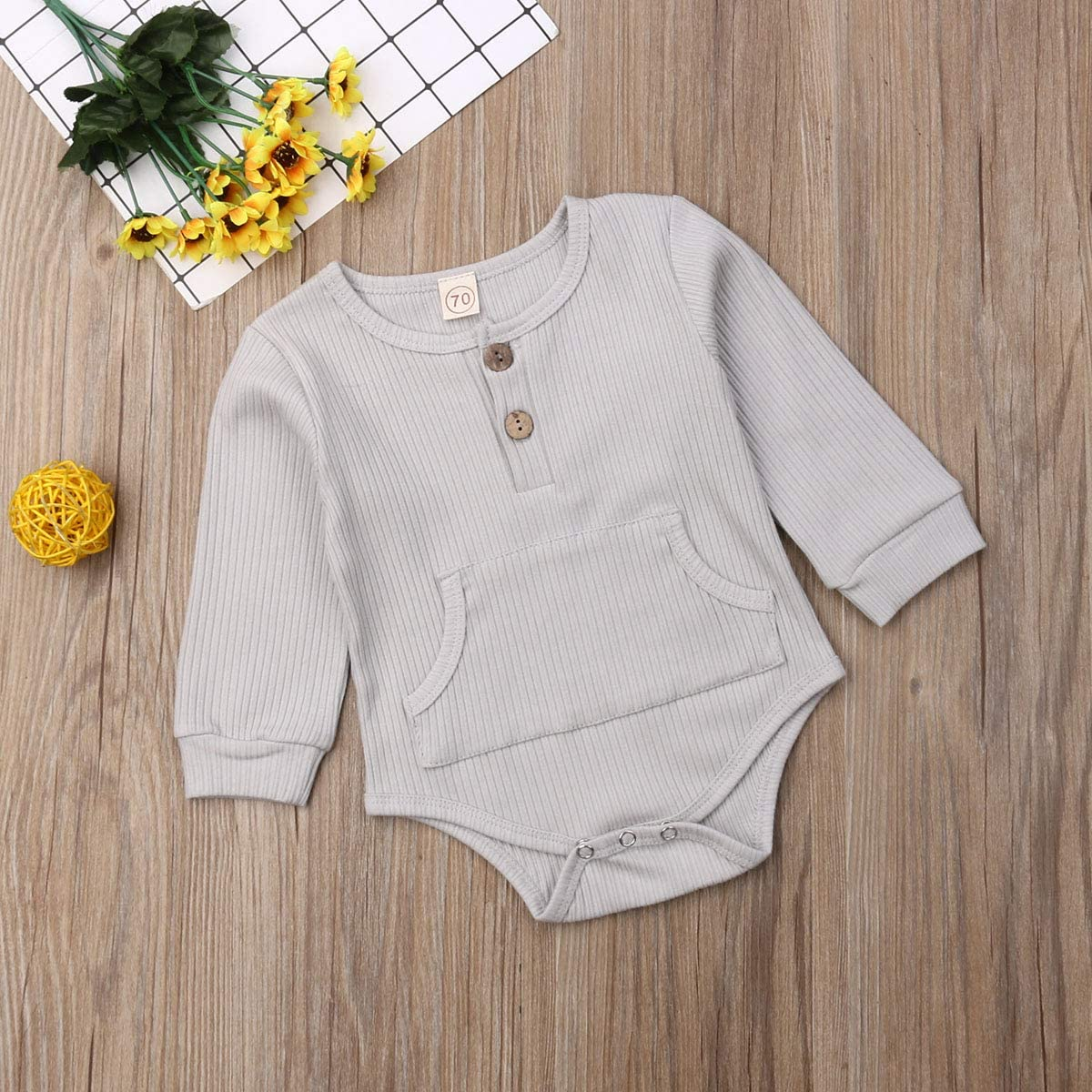1Pc Newborn Girl Boy Ribbed Knitted Cotton Bodysuit Baby Solid Color Long Sleeve Romper Tops with Pocket