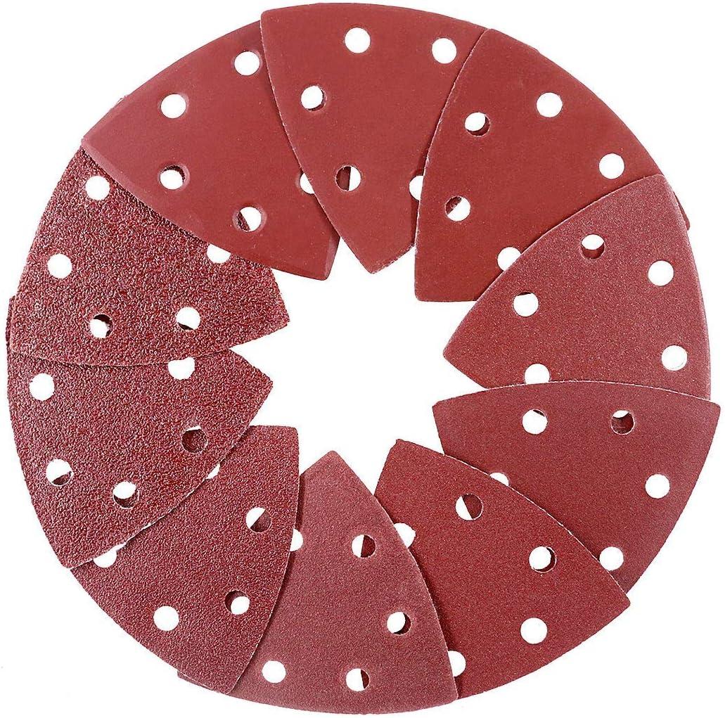 "50pcs 9Omm/3.5"" Hook & Loop Oscillating Multi Tool Grits Triangular Sandpaper Sanding Pads Abrasive Sandpaper Assorted 60/80/120/180/240 Grits(10pcs of each) Brown"