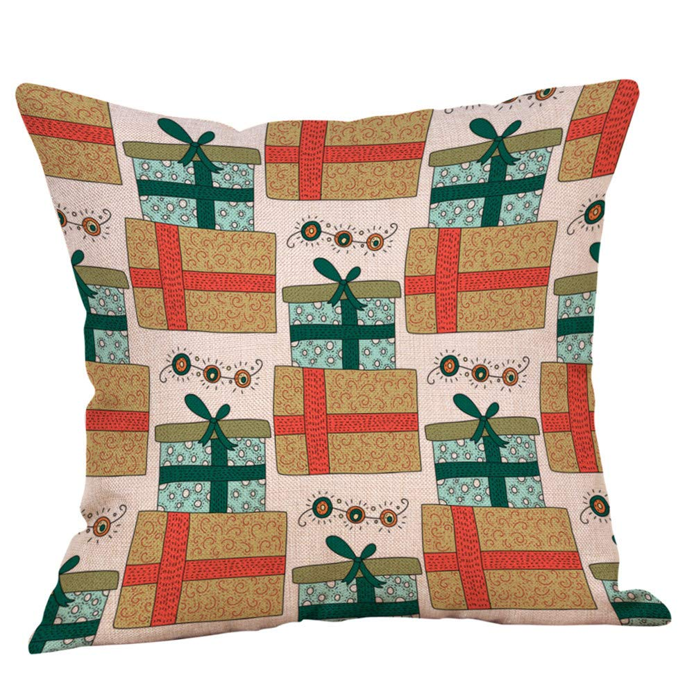 "Chenway Christmas Pillowcase Glitter Cotton Linen Sofa New Zipper Closure Pillow Case Merry Xmas Soft Throw 18 ""×18"" Super Cushion Cover - for Home Decoration Office Sofa Car Bedroom (B)"