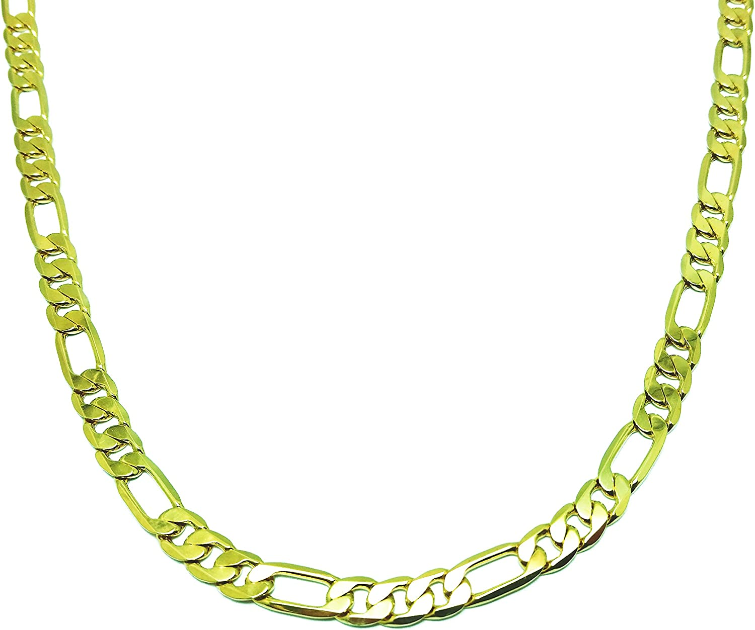 NEW 8mm//24 GOLD PLATED FIGARO LINK NECKLACE CHAIN #218//24