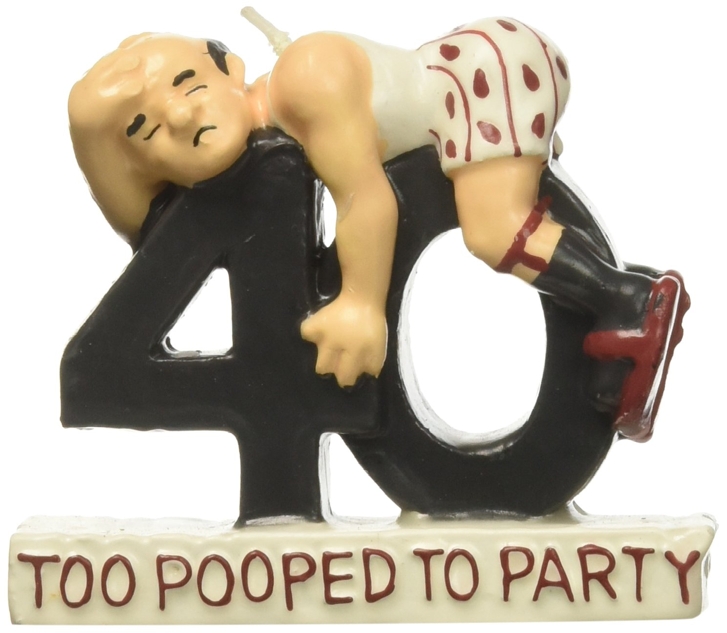 OVER THE HILL Too Pooped to Party Age 40 Candle