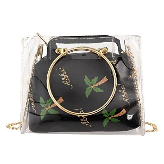 Candice Women Clear Transparent Beach Chain Shoulder Bag Crossbody Bag Purse  with Interior Pocket(Black 35d4ae497a