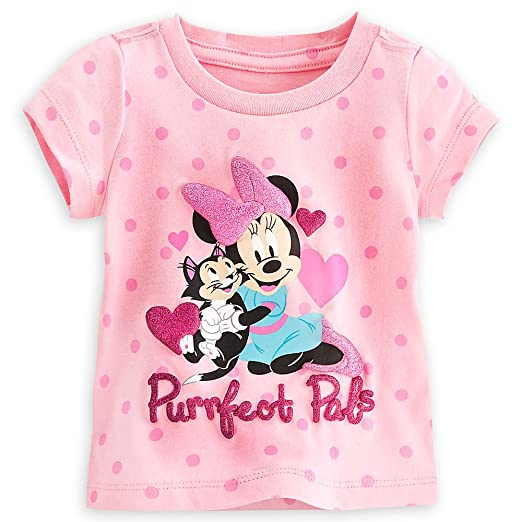 b83fd4223 Amazon.com: Disney Store Baby Girls Minnie Mouse & Figaro Purrfect Pals T- Shirt, Pink: Clothing