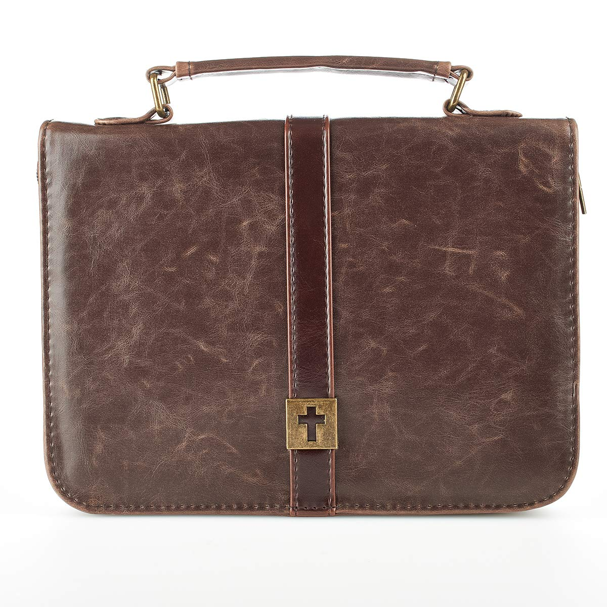 Download Distressed Leather-Look Bible / Book Cover w/Cross Badge (Medium) pdf epub