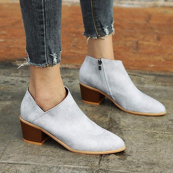 JiaMeng - Botas de Mujer Zapatos otoñales Botines de Cuero Macizo de Martin Botines Cortos Martín Botas Tacón Alto Cuadrado Moda Otoño Invierno: Amazon.es: ...