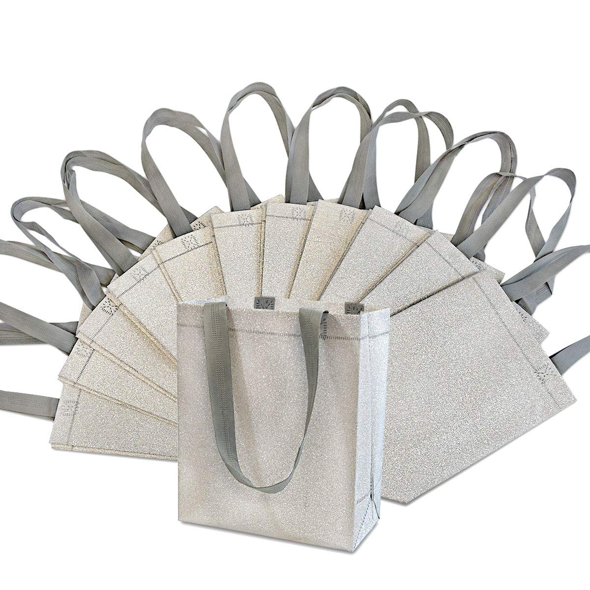 Medium-Small Metallic Silver Reusable Glitter Gift Bags with Handles Birthday Party Favor Bags Bags for Weddings 8x4x10 12 Pcs Holidays and All Occasions