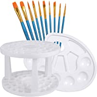 10pcs Acrylic Oil Paint Brushes with A Paint Palette Tray and A Brush Organizer, Usparkle Art Supplies Kids Art Set with Round Flat Angle Filbert Fan Points for Craft Face Body Art Painting