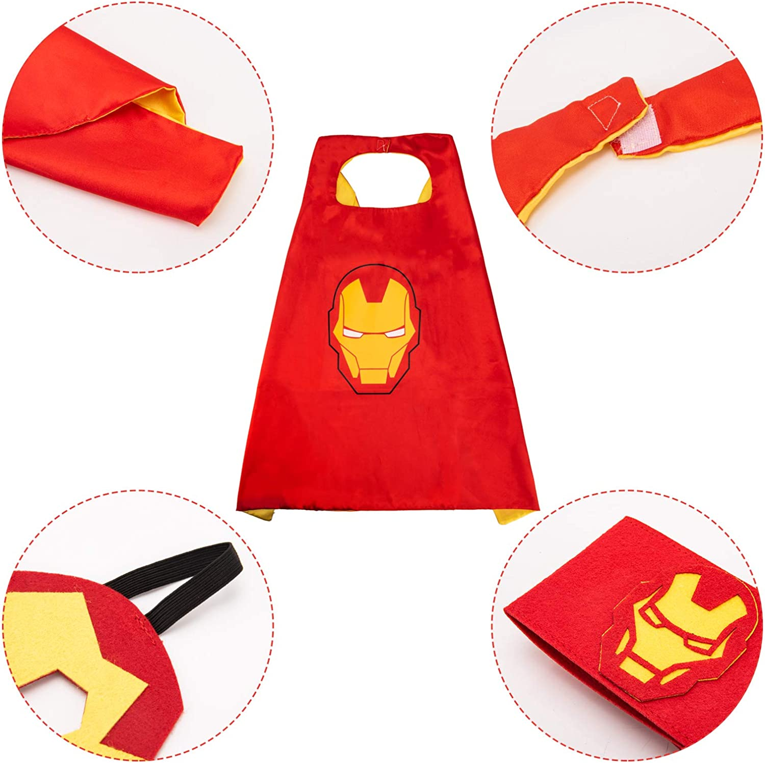 The Popular Toy Gifts for 3-12 Years Old Boys Boys Dress up Superhero Costumes for Party Kids Superhero Capes and Masks with Belt Red