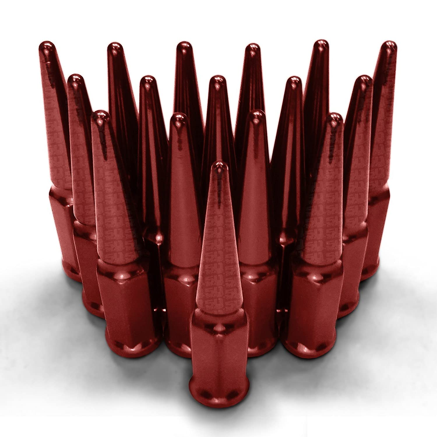 50 Caliber Racing Set of 16 Solid Steel Spiked Lugs Nut Kit 10 x 1.25mm RH Thread Pitch Size fits Wheels with 60 Degree Conical Lug Nut Seats Red Finish 5296C1