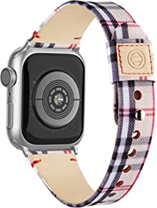 Compatible with Apple Watch Band 38mm 40mm 42mm 44mm for Women Men, Slim Fabric Canvas Band with Soft Leather Lining and Snap Button for Apple Watch Series 6/5/4/3/2/1 SE, Apricot Plaid 38/40mm