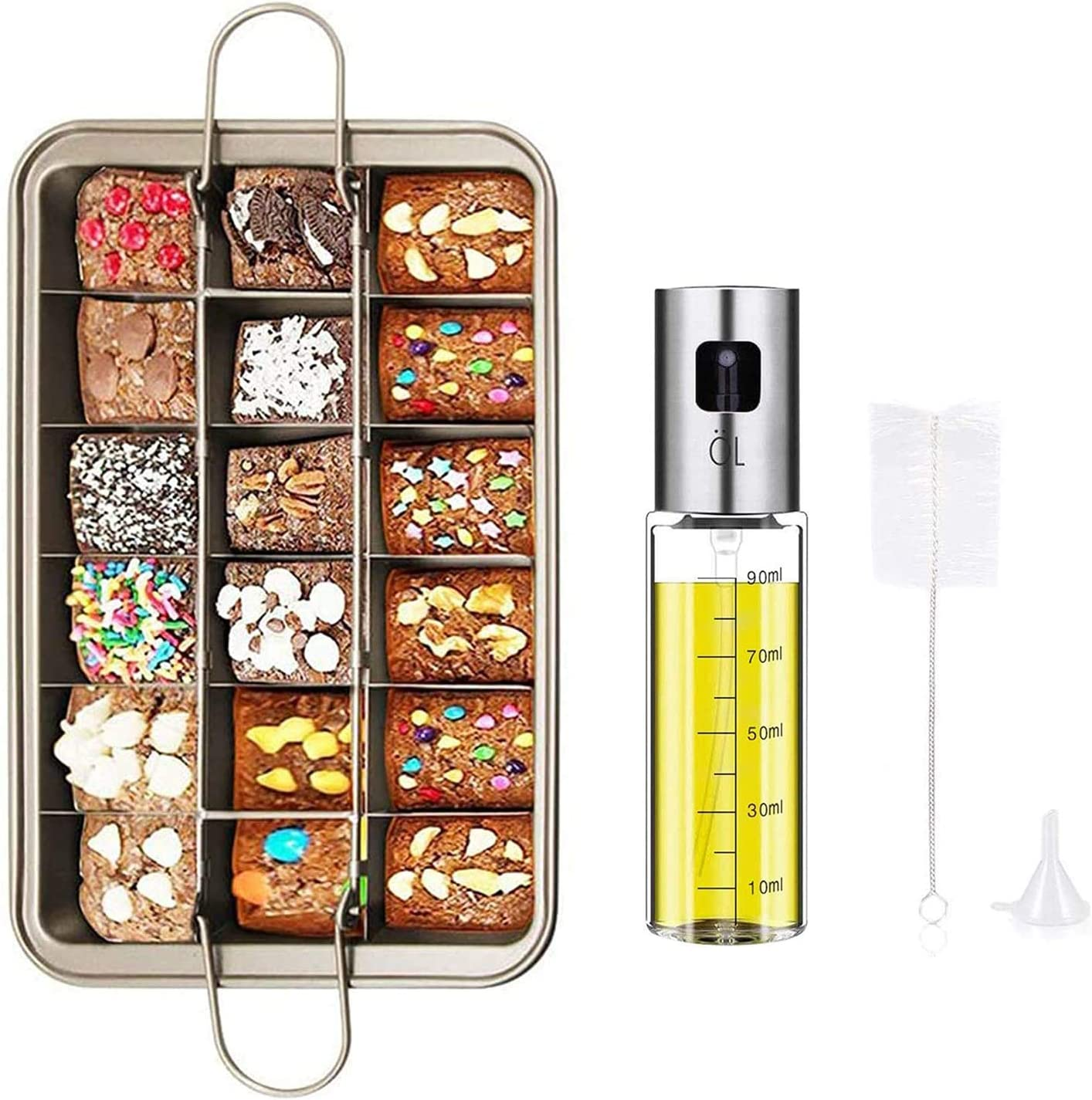 Olive Oil Sprayer Bottle and Brownie Pan Set, Stainless Steel Glass Oil Dispenser and Non Stick Brownie Pans With Dividers for Oven Baking, Cooking, Kitchen Tools