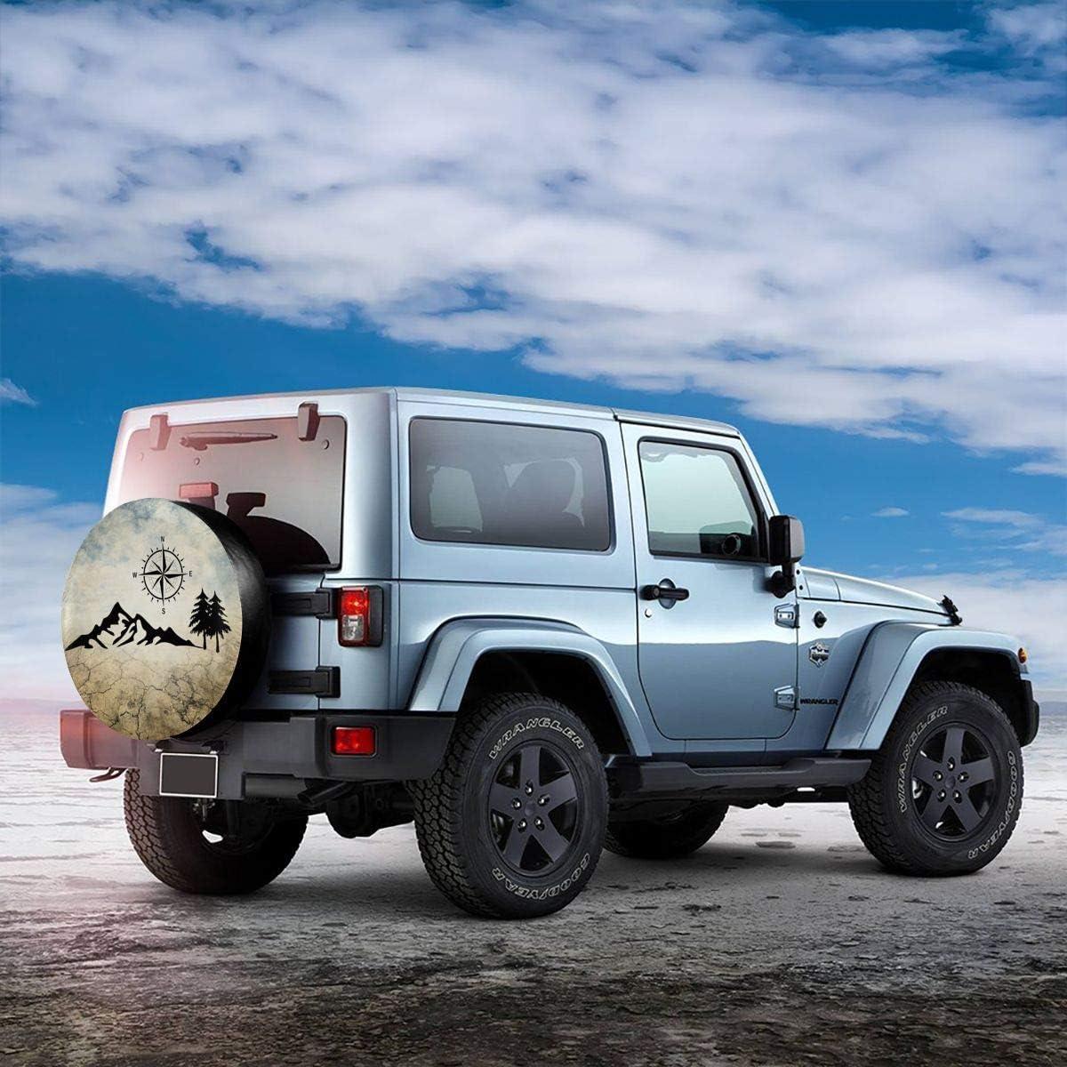Kejbr Ruote Borsa per Pneumatici Nature Mountain Compass Camper Borsa Copriruota Wheel Protectors Weatherproof for Jeep Trailer RV SUV 14 15 16 17