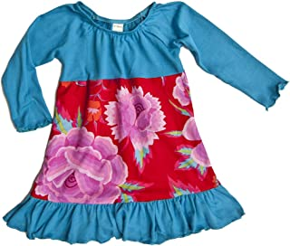 product image for Sweet by Cheeky Banana Little Girls Knit Peasant Dress Turquoise & Red Floral