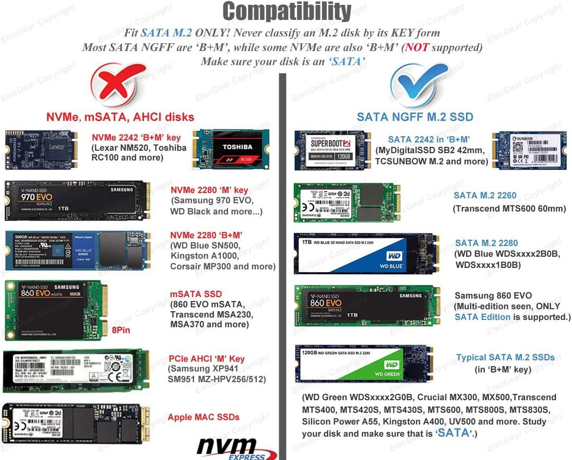 SATA M.2 SSD a USB 3.1 Gen2 Caja de Carcasa con USB Tipo C Cable ...